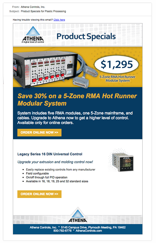 Athena Product Special Emailer