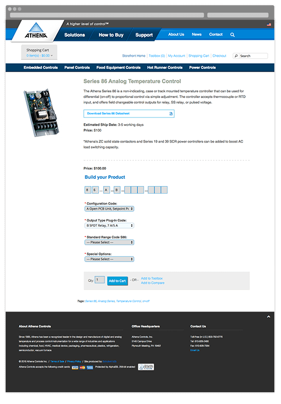 Athena eStore Product Page