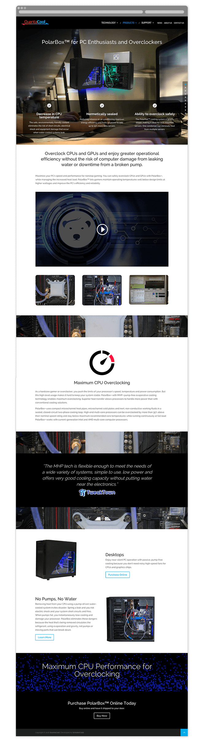 QuantaCool Website Prodcut Page Design
